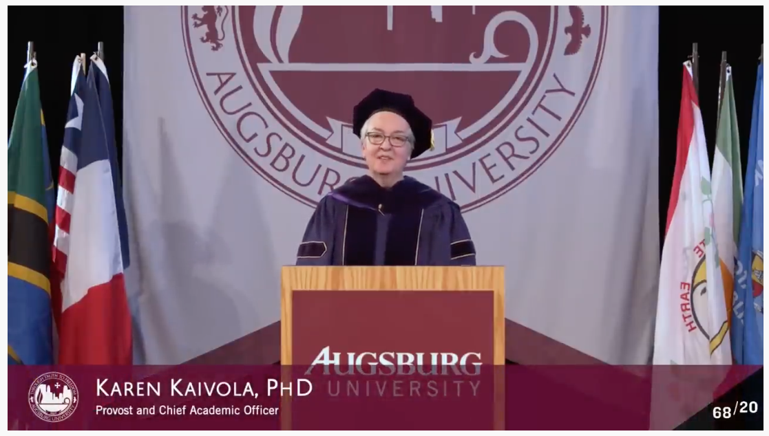 Karen Kaivola speaking at the commencement