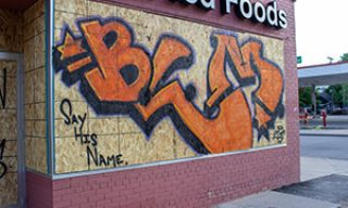 BLM- Say his Name mural in front of a grocery store