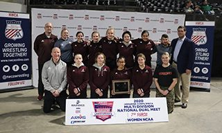 Augsburg Women's division athletes posing with the certificate.