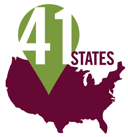 Graphic that shows the United States and says 41 States.