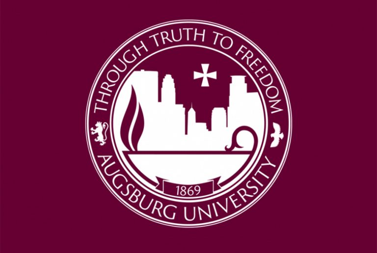 Augsburg University Seal on a maroon background