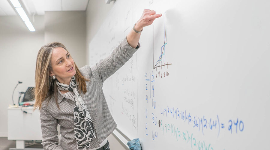 Rebekah Dupont teaching at a whiteboard in front of a class