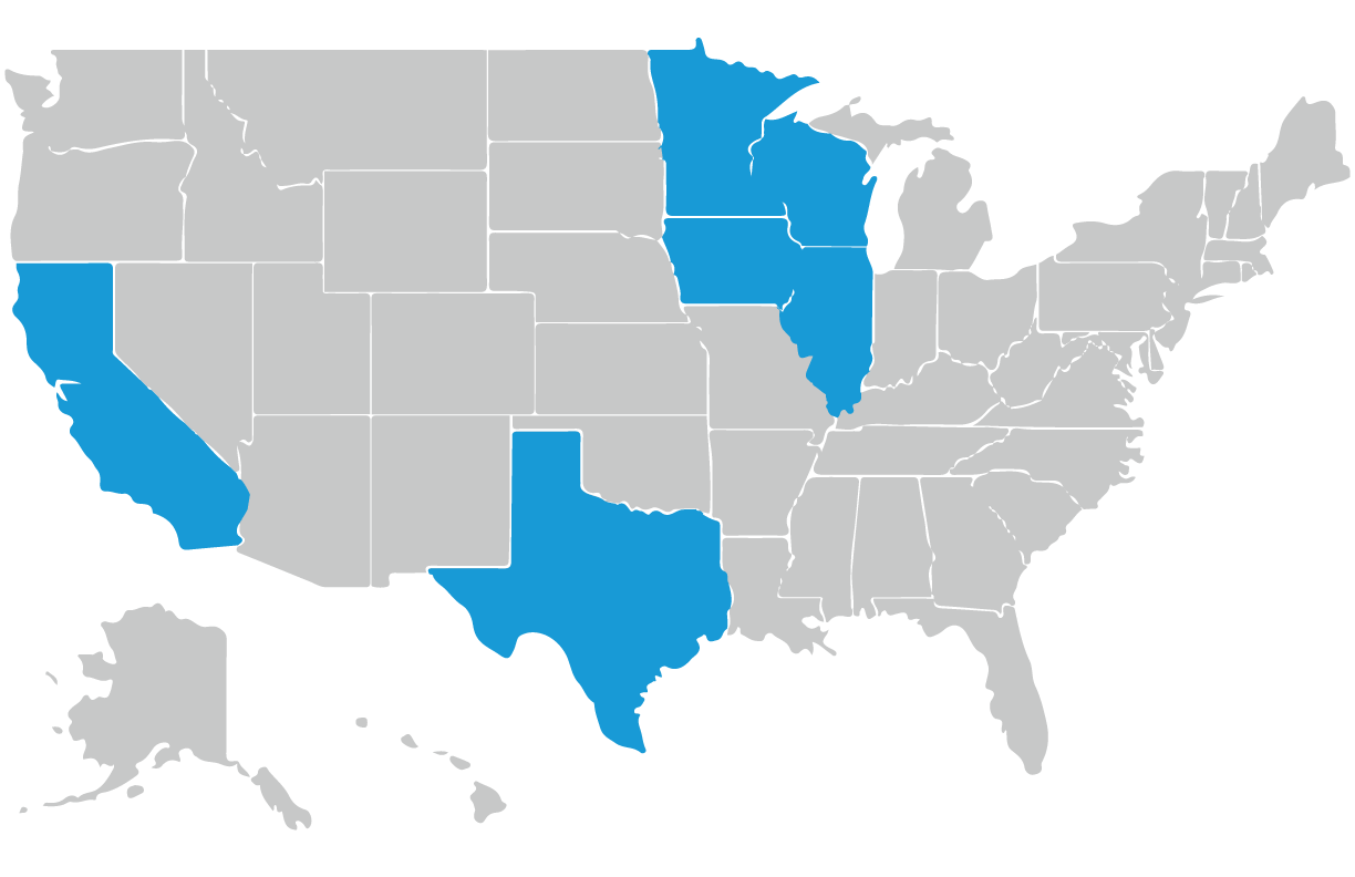 United States map with Minnesota, Wisconsin, Illinois, Iowa, Texas, and California highlighted
