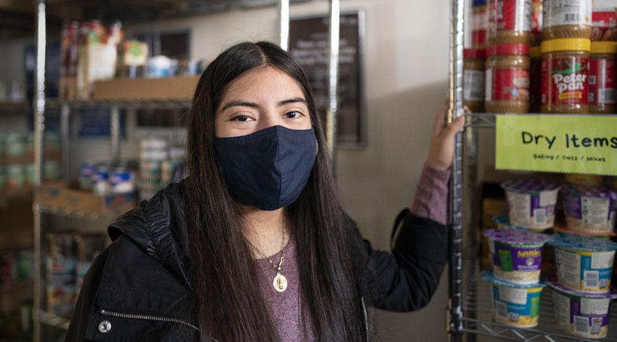 Yamile Hernandez '22 in the Campus Cupboard