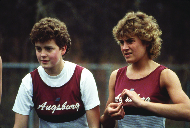 Augsburg women's track and field student-athletes prepare for a race in 1985.