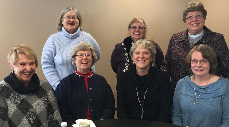 Group photo from 2018 [front, L to R]: Diane Lempke '69, Mary (Loken) Veiseth '70, Linda (Radtke) Karkhoff '70, Paulette (Olson) Odegaard '70. [Back, L to R]: Susan (Olson) Williams '70, Mary Ellen Buss '70, Linda Larson '70.
