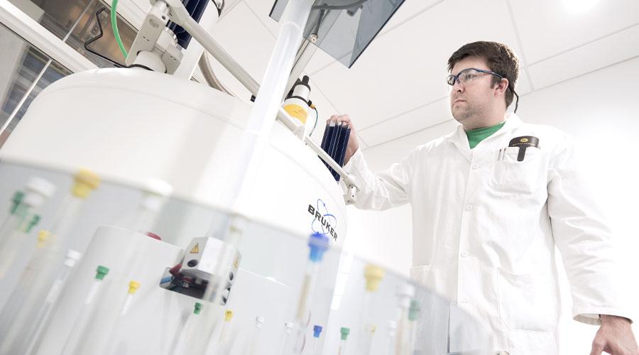 Michael Wentzel in a science lab