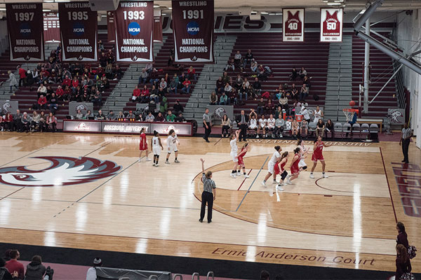 Augsburg women's basketball plays against the College of Saint Benedict in Si Melby Hall, 2018.
