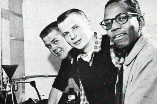 The camera club in 1957 included [L to R] Jerry Matison '59, Stan Quanbeck '59, and James Nichols '58.