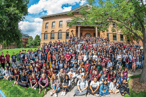 The Class of 2023 gathers in front of Old Main in 2019.