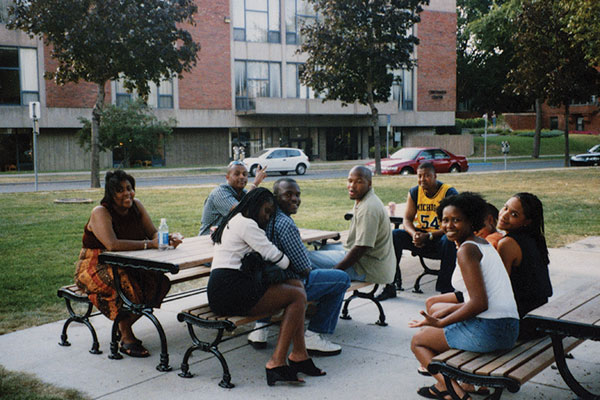 Students attend a Pan-Afrikan Student Union cookout in Murphy Square in 1998.