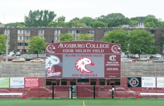 Scoreboard donations honor Edor Nelson '38