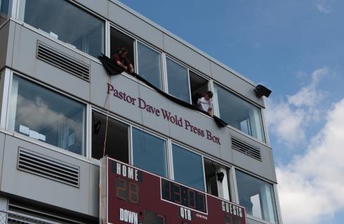 Augsburg press box name commemorates Campus Pastor Emeritus Dave Wold