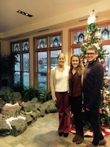 Emma Hermes '18, Haley Johnson '18, and Clinton Billhorn '18 visit the Ronald McDonald House