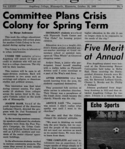 Augsburg Echo story on Crisis Colony, October 18, 1968.