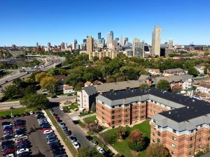 A photo of the Minneapolis skyline from an Augsburg dorm.
