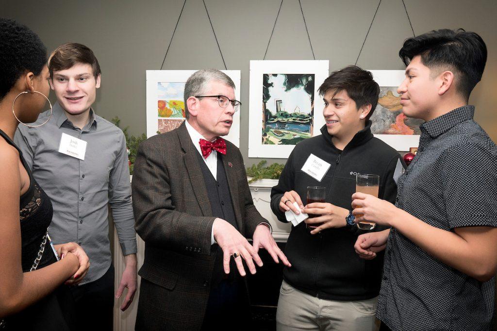 President Pribbenow talking to students
