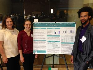 Kathryn Block, Trewayne Flatgard, and Jolene Catudioat the Midwest Undergraduate Research Conference