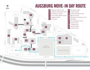 Map showing the driving route for First Year move in day