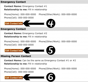 "Select ""Edit Contact Info"" to update two emergency contacts and one missing person contact."