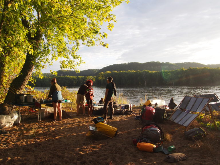 Camp site on an island in the Mississippi River near La Crosse, Wisconsin in 2019. A way of living with enough comfort while being connected and immersed in the world. (Christoph Rosol Field Note)