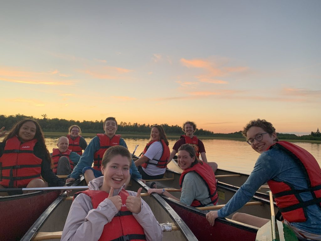 Our first paddle, at sunset on Lake Itasca.