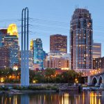 Minneapolis skyline by Mississippi River