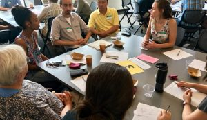 Innovation Coach Emily Kindelspire visits with Partner Congregations Trinity Lutheran Congregation, Minneapolis and Church of All Nations, Columbia Heights.