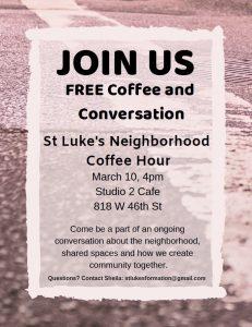 Flyer for St. Luke's Neighborhood Coffee Hour