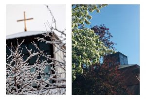 Two photo side by side to show the difference of Foss Chapel in the winter versus in early summer