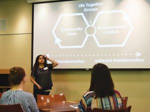 Team member gives presentation