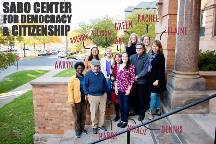 """Sabo Center Staff Photo with text identifying the names of each person and """"Sabo Center for Democracy and Citizenship"""" in the top left corner."""
