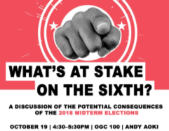 Poster for What's at Stake on the Sixth? Event.