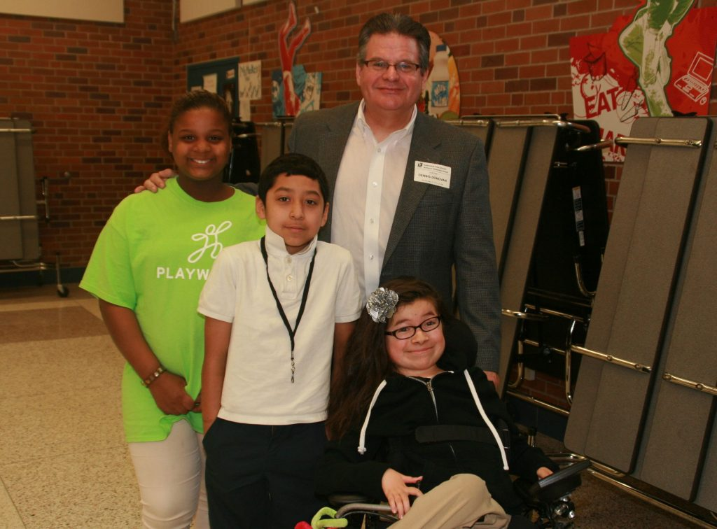 Dennis Donovan with students at Maxfield Elementary