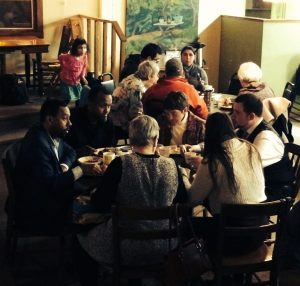 people eating together at Cedar Commons