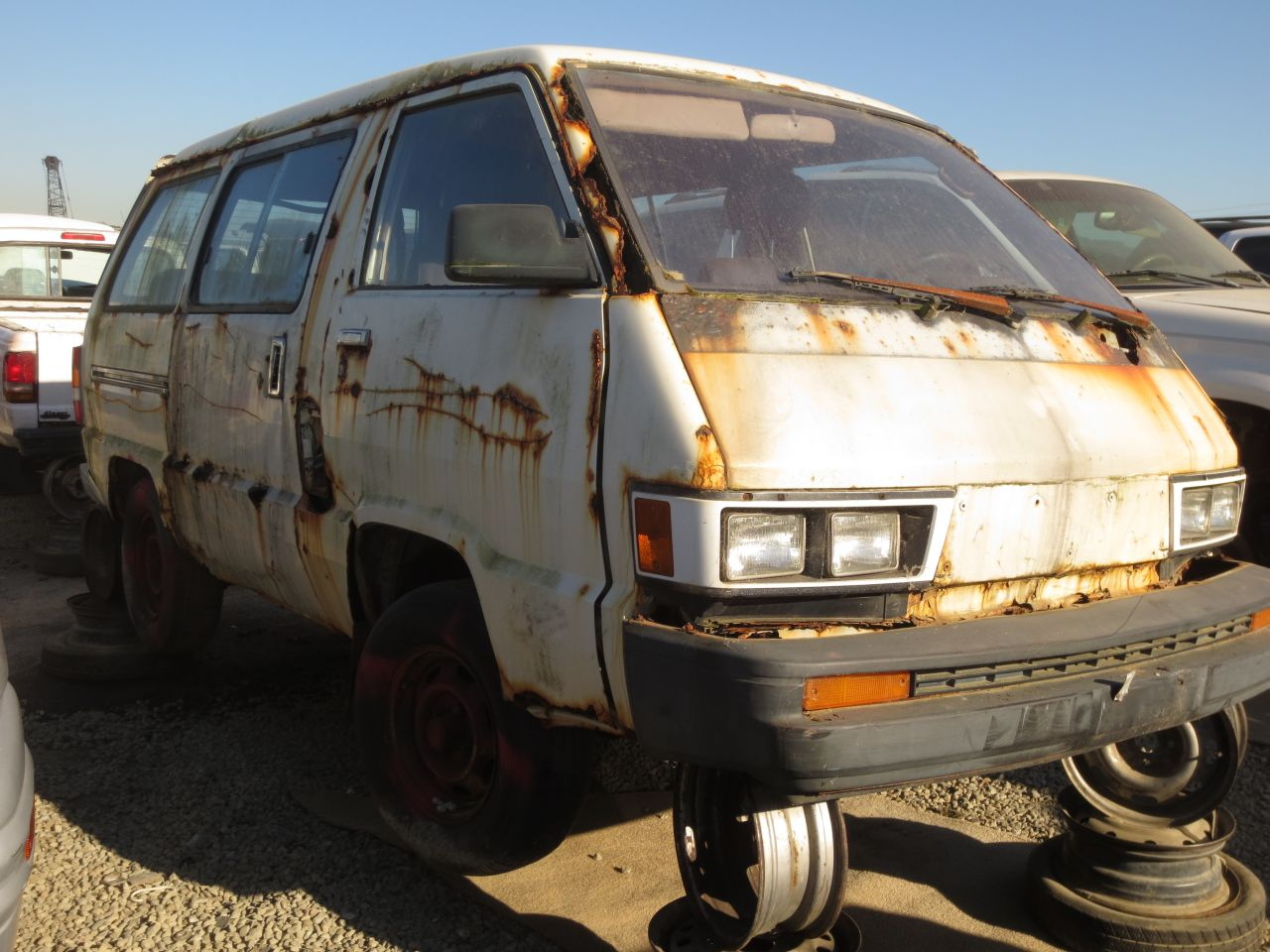 rusty broken down van