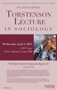 """Photo of the 2014 poster featuring Professor Monte Bute speaking on """"The Populist Impulse: Bringing Sociology to Life."""""""