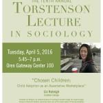 Photo of the 2016 poster featuring Professor Liz Raleigh speaking on Chosen Children