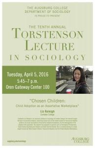 "Photo of the 2016 poster Featuring Professor Liz Raleigh of Carleton College speaking on ""Chosen Children: Child Adoption as an Assortative Marketplace."""