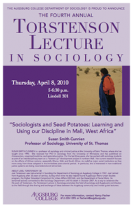 """Photo of the 2010 poster featuring Professor Susan Smith-Cunnien from the University of St. Thomas speaking on """"Sociologists and Seed Potatoes: Learning and Using our Discipline in Mali, West Africa."""""""