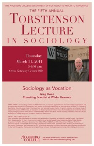 """Photo of the 2011 poster featuring Greg Owen, consulting scientist at Wilder Research speaking on """"Sociology as Vocation."""""""