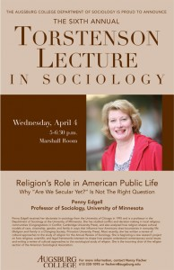 """Photo of the 2012 poster featuring Professor Penny Edgell from the University of Minnesota speaking on """" Religion's Role in American Public Life: Why 'Are We Secular Yet?' Is Not the Right Question."""""""