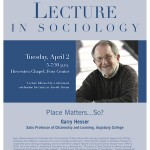 "Photo of the 2013 poster featuring Professor Garry Hesser of Augsburg College speaking on ""Place Matters ... So?"""