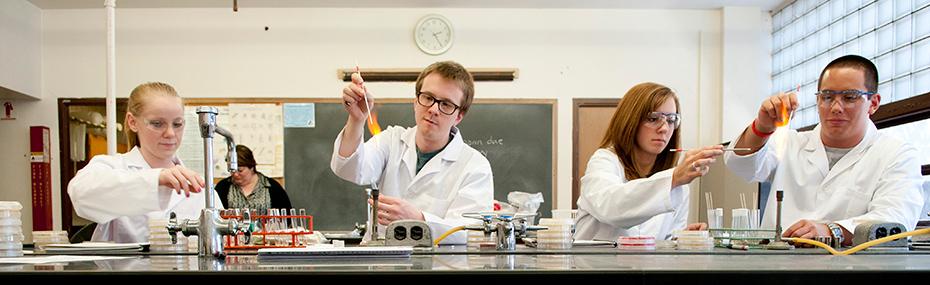 STEM students doing lab work.