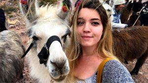 Madeleine Oswood with llama