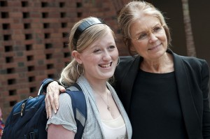 Gloria Steinem with student