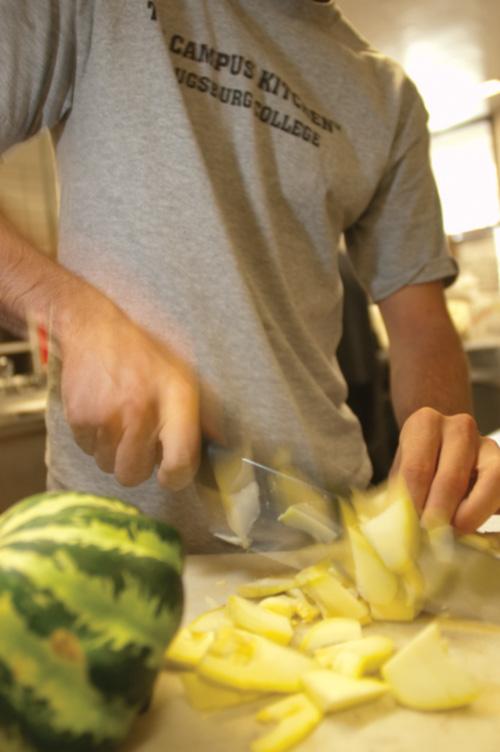 Student chops vegetables