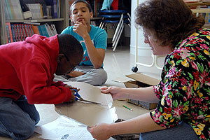 Students work with a Public Achievement coach