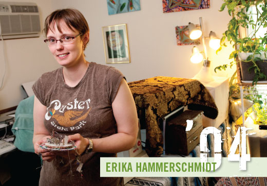 Erika Hammerschmidt stands in her apartment