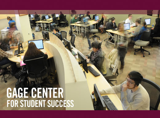 Students sit at computers in Gage Center